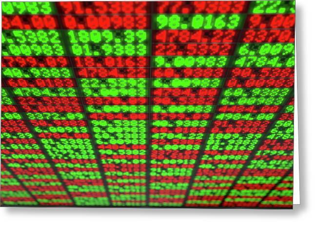 Stock Market Digital Board Greeting Card by Allan Swart