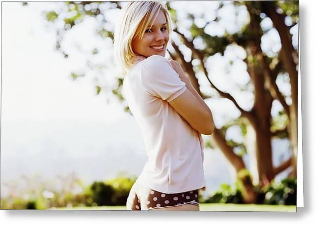153098 Kristen Bell Blonde Women Women Outdoors Panties Smiling Sunlight Greeting Card