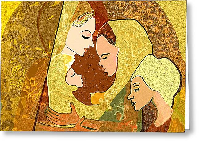 157 - Three Women And A Child Greeting Card by Irmgard Schoendorf Welch