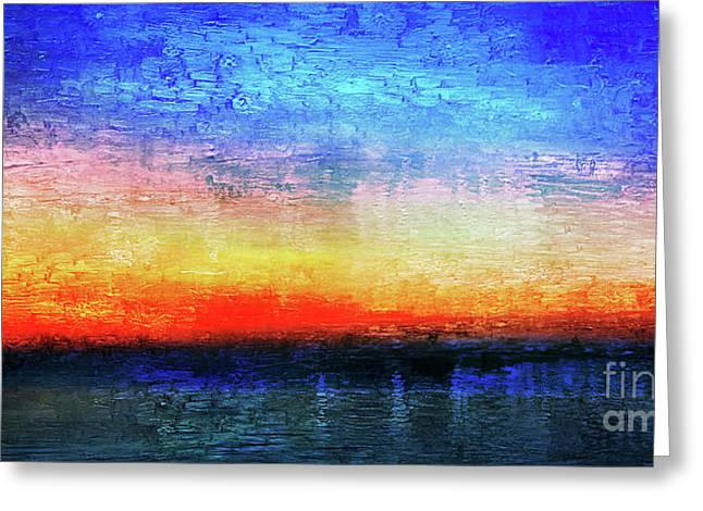 15a Abstract Seascape Sunrise Painting Digital Greeting Card