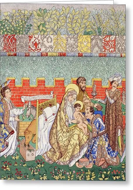 15th Century Tapestry Of The Adoration Greeting Card