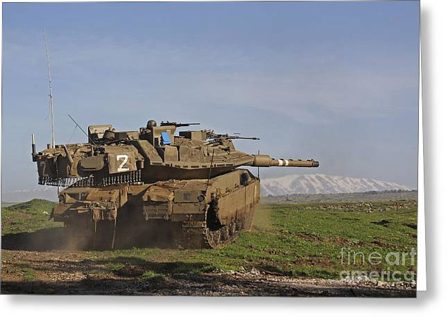 An Israel Defense Force Merkava Mark Iv Greeting Card by Ofer Zidon