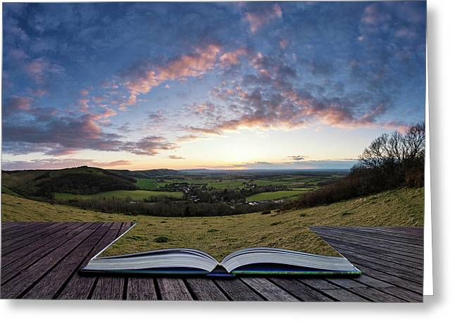 Beautiful Landscape Image Of Sunset Over Countryside Landscape I Greeting Card by Matthew Gibson