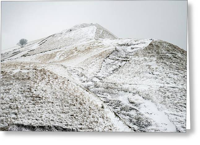 Beautiful Winter Landscape Image Around Mam Tor Countryside In P Greeting Card
