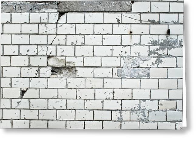 Damaged Wall Greeting Card by Tom Gowanlock