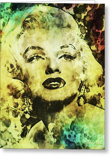 Marilyn Monroe Vintage Hollywood Actress Greeting Card by Mary Bassett