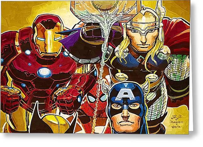 Marvel Superhero Greeting Card by Egor Vysockiy