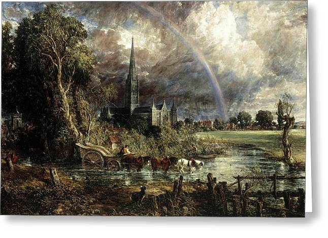 Salisbury Cathedral From The Meadows Greeting Card