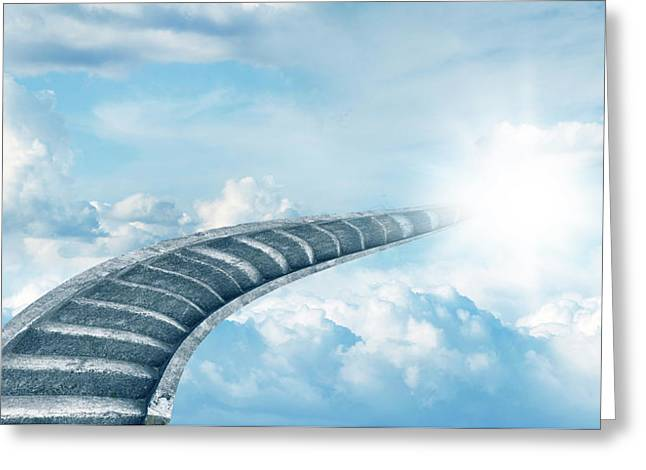 Greeting Card featuring the digital art Stairway To Heaven by Les Cunliffe