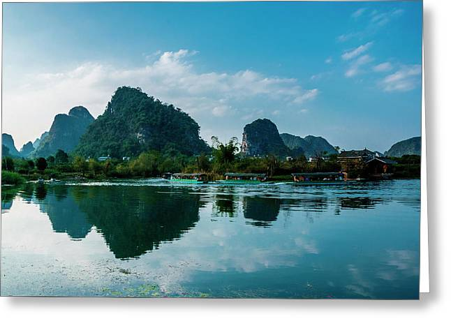 The Karst Mountains And River Scenery Greeting Card