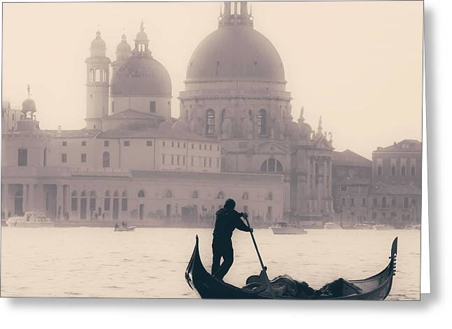 Vintage Boat Greeting Cards - Venezia Greeting Card by Joana Kruse