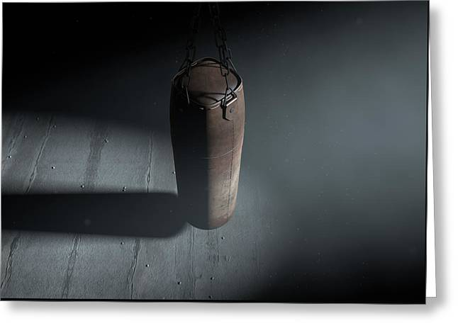 Vintage Leather Punching Bag Greeting Card
