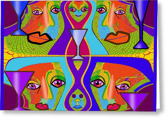 Greeting Card featuring the digital art 1688 - Funny Faces 2017 by Irmgard Schoendorf Welch