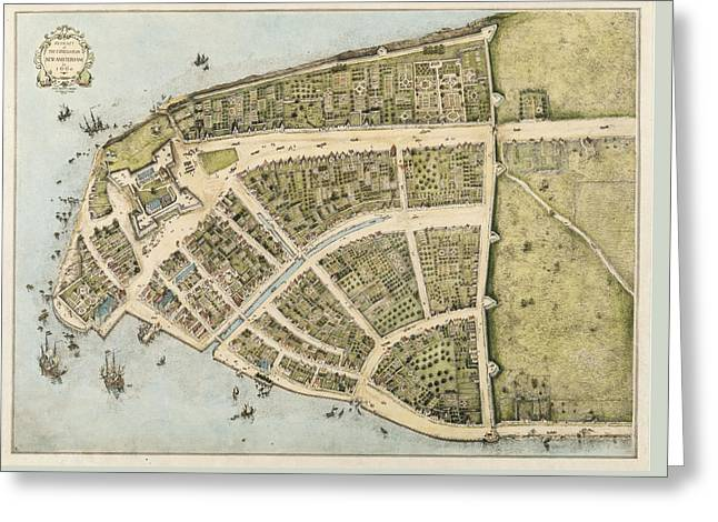 1660 New Amsterdam Map Greeting Card