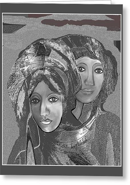 Greeting Card featuring the digital art 1667 - The Sisters by Irmgard Schoendorf Welch