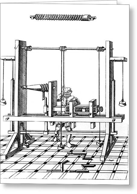 Equipment Greeting Cards - 16th Century Lathe, Historical Artwork Greeting Card by Library Of Congress