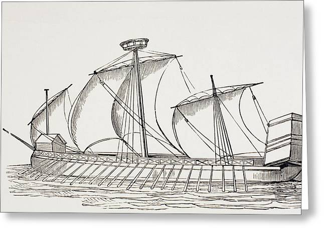 16th Century Three Masted Galley With Greeting Card