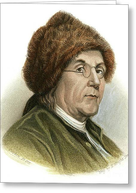18th Century Greeting Cards - Benjamin Franklin (1706-1790) Greeting Card by Granger
