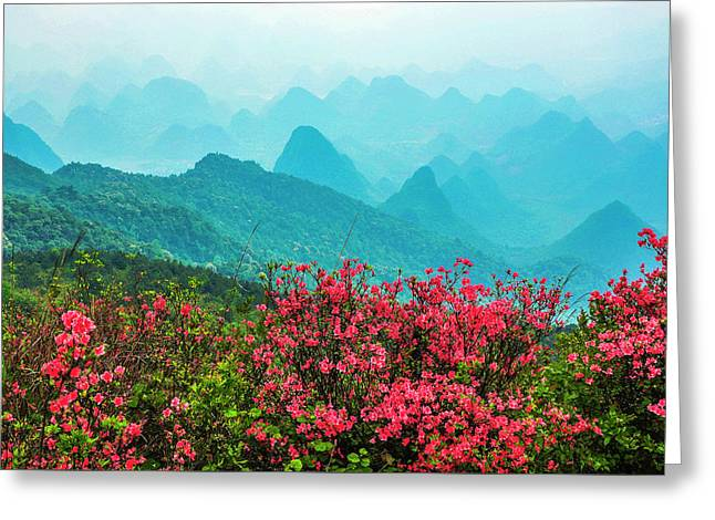 Blossoming Azalea And Mountain Scenery Greeting Card