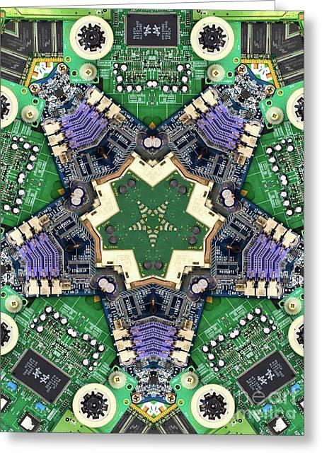 Computer Circuit Board Kaleidoscopic Design Greeting Card
