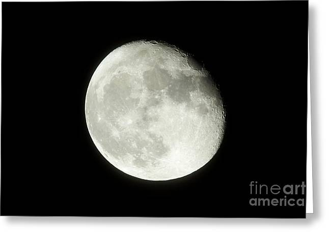 17 Day Old Waning Gibbous 95 Per Cent Visible Moon Greeting Card by Joe Fox