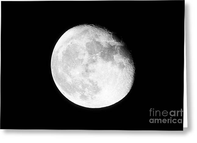 17 Day Old Waning Gibbous Grainy Visible Moon Greeting Card by Joe Fox