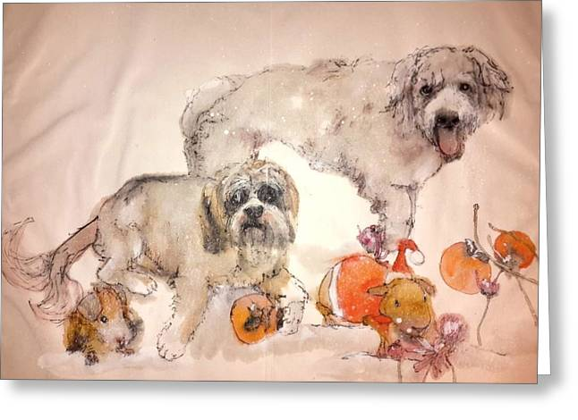 Dogs Dogs Dogs Album  Greeting Card by Debbi Saccomanno Chan