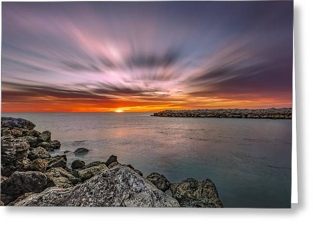 Sunst Over The Ocean Greeting Card
