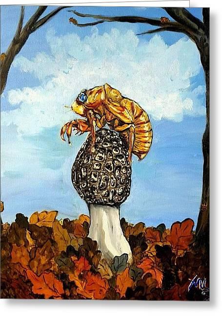 17 Year Cicada With Morel Greeting Card