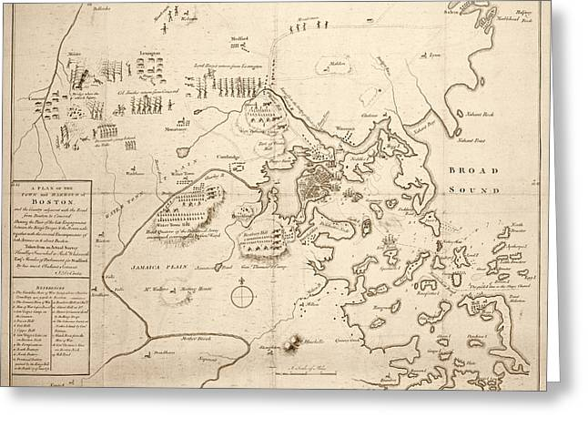 1700s City Planning Map Boston Ma Sepia Greeting Card