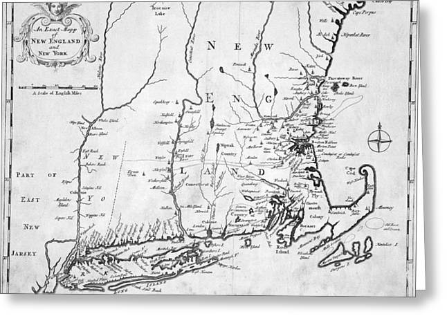 1702 Map Of New England And New York Greeting Card