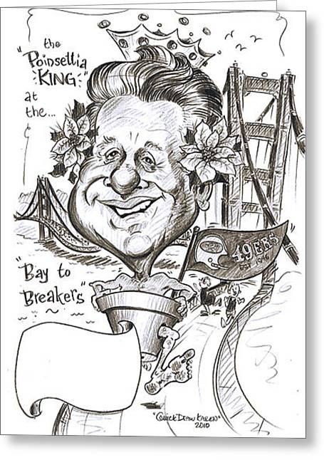 49ers Drawings Greeting Cards - 175 Gift Caricature Sample Greeting Card by Karen Fulk