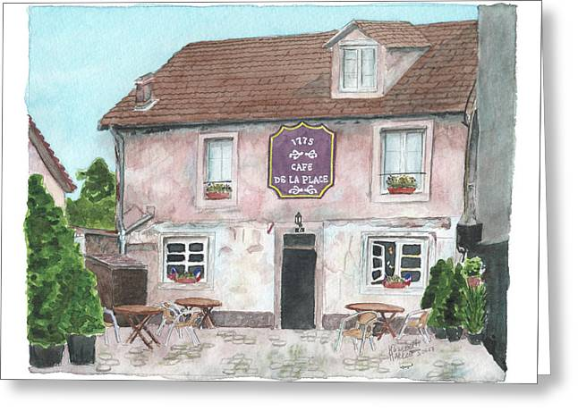 Greeting Card featuring the painting 1775 Cafe De La Place by Betsy Hackett
