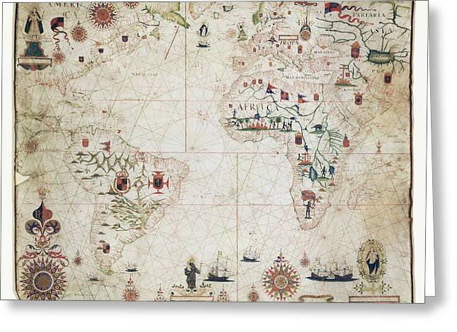 17th Century Nautical Map Of The Atlantic Greeting Card by Library Of Congress