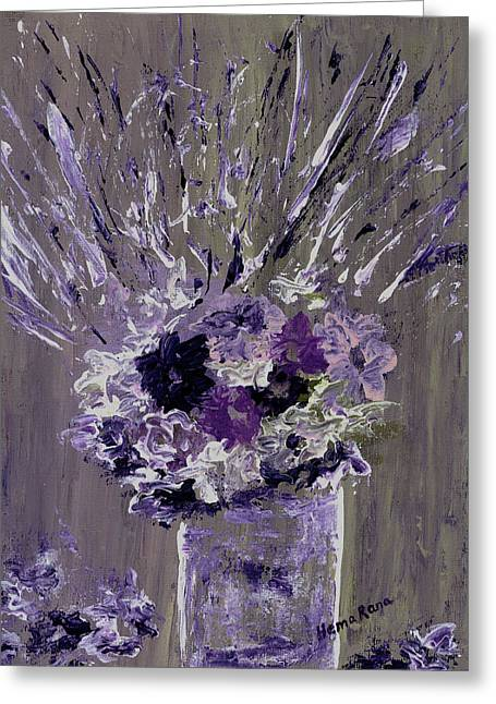 Abstract Flowers Greeting Card by Hema Rana