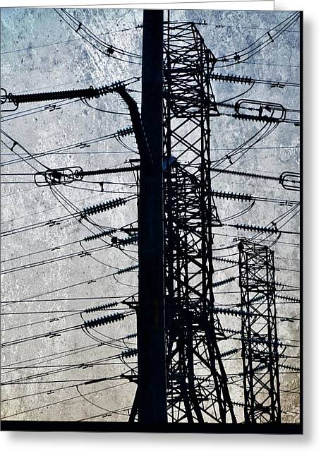 Electric Power Transmission... Greeting Card by Werner Lehmann