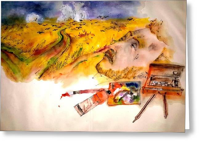 Looking At Van Gogh My Way Album Greeting Card by Debbi Saccomanno Chan
