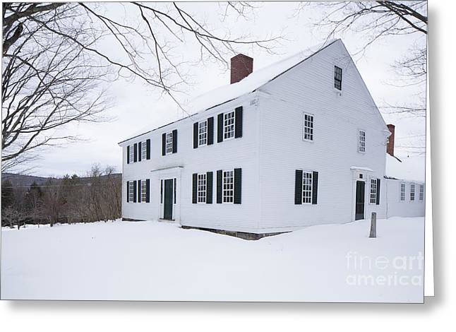 Greeting Card featuring the photograph 1800 White Colonial Home by Edward Fielding