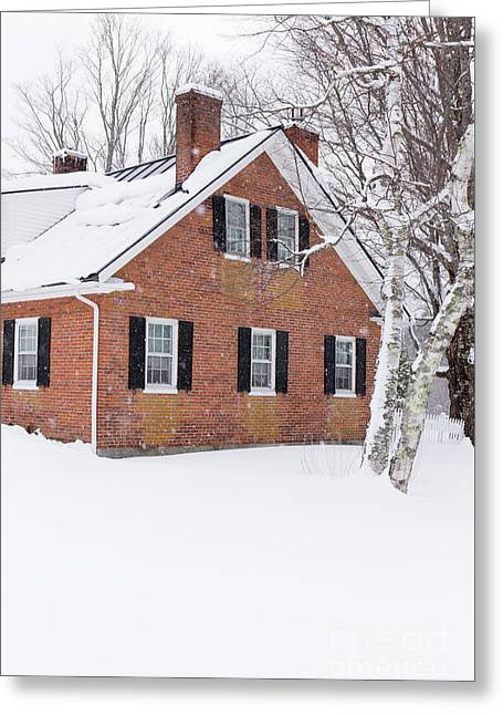 Greeting Card featuring the photograph 1800s New England Brick Farm House In Winter Vert by Edward Fielding