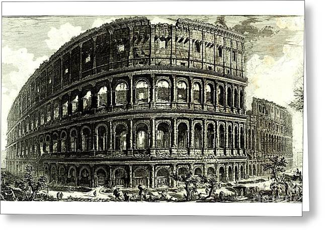 Greeting Card featuring the drawing 1810 Italian Etching Of The Ruins Of The Roman Colosseum Francesco Piranesi by Peter Gumaer Ogden