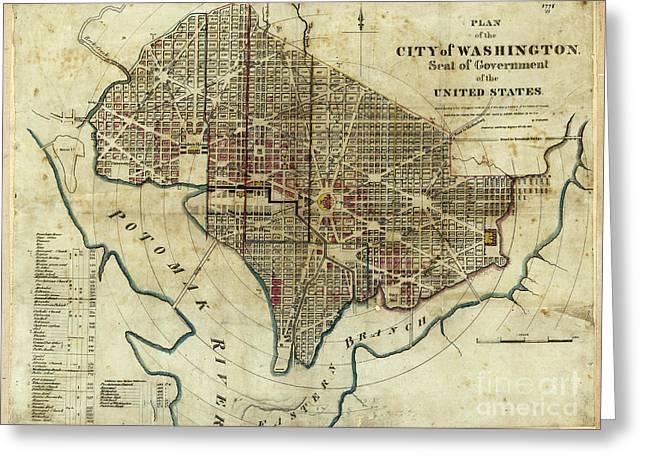 1822 Map Of Washington Dc Greeting Card