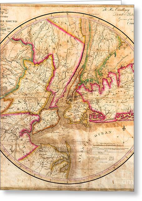 1828 New York City Map Greeting Card by Jon Neidert