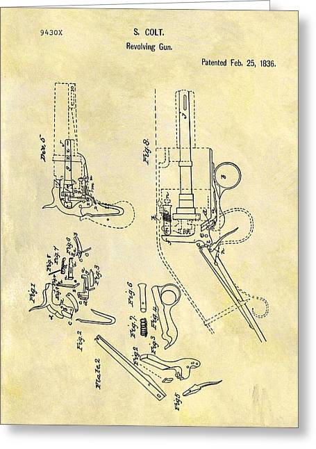 1836 Colt Revolver Patent Greeting Card by Dan Sproul