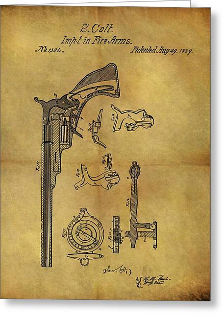 1839 Samuel Colt Revolver Patent Greeting Card by Dan Sproul