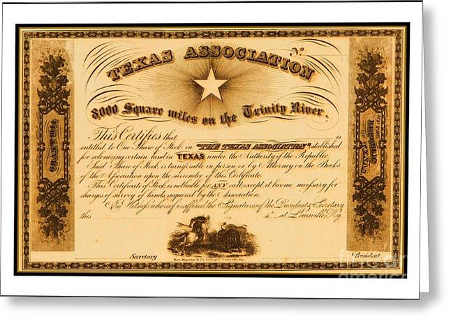Greeting Card featuring the drawing 1844 Texas Association Stock Certificate For Pioneer Emigration To The Mercer Colony by Peter Gumaer Ogden