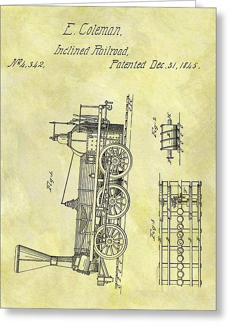1845 Locomotive Patent Greeting Card by Dan Sproul