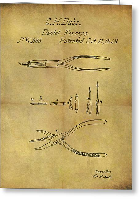 1848 Dental Forceps Patent Greeting Card by Dan Sproul