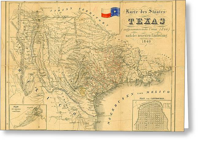 1849 Texas Map Greeting Card by Dan Sproul