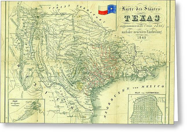 1849 Texas Map Greeting Card by Jon Neidert