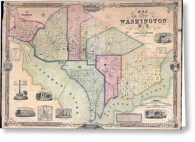 1851 Washington Dc Map Greeting Card